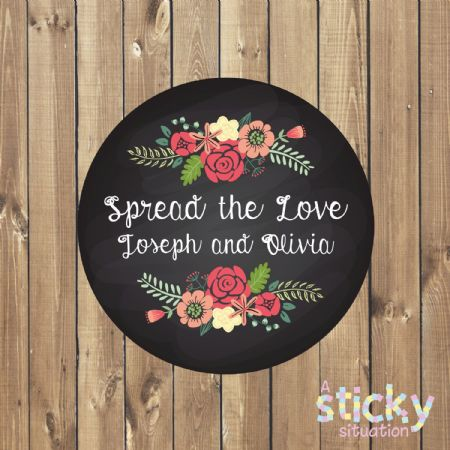 Personalised 'Spread the Love' Stickers - Chalkboard Design